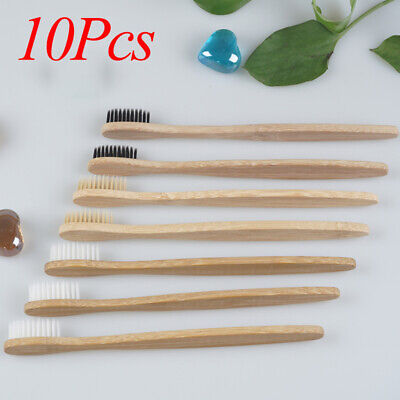 10X Friendly Eco Gentle Medium Natural Bamboo Wooden Soft-bristle Toothbrush Out