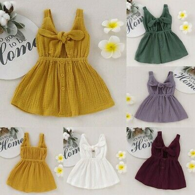 Toddler Kid Baby Girl Solid Sleeveless Straps Bow Button Princess Dress Clothes