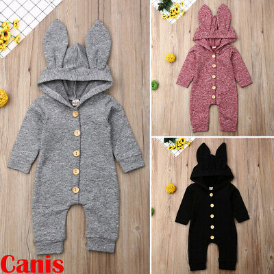 Newborn Infant Baby Girl Boy Hooded Cotton Romper Jumpsuit Outfits Clothes 0-24M