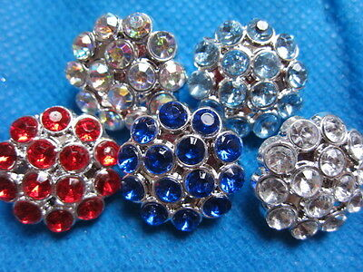 10 Plastic Rhinestone 22mm Buttons-5 colors PA003-1