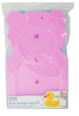 First Steps - PINK Baby Bath Sponge Support - Teddy Shaped - PINK - Baby Bathing