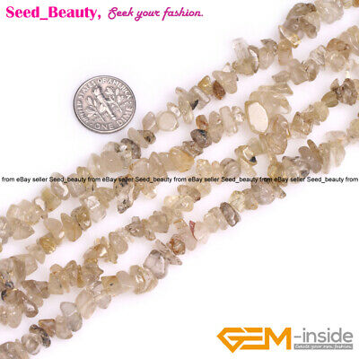 """7-8mm Freeform Gold Rutilated Quartz Gemstone Chips Beads For Jewelry Making 34"""""""