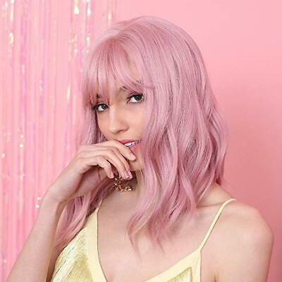 """Pink Wigs Lady Girl 14"""" Bob Short Curly Bangs Full Hair Synthetic with Rose Net"""