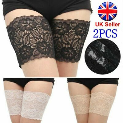 2x Non Slip Lace Elastic Sock Anti-Chafing Thigh Band Prevent Thigh Chafing Sock