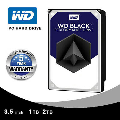 "WD 1TB/2TB Black  3.5"" Desktop Hard Drive Sata 6GB/s 64 MB 7200 RPM 5 Years"