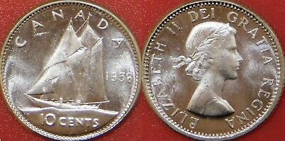 Brilliant Uncirculated 1958 Canada Silver 10 Cent From Mint's Roll