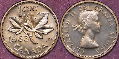 Brilliant Uncirculated 1963 Canada 1 Cent From Mint's Roll