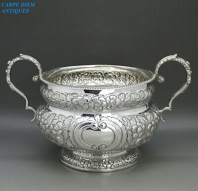 EXCEPTIONAL IRISH GEORGE IV LARGE SOLID SILVER EMBOSSED SUGAR BOWL 407g 1826