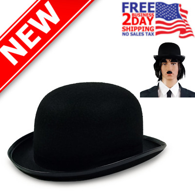 Deluxe Adult Black Bowler Hat Derby Cap Wool-Feel The Son of Man Costume Mens