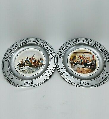 Williamsport Foundry Pewter & Porcelain Bicentennial American Revolution Plates
