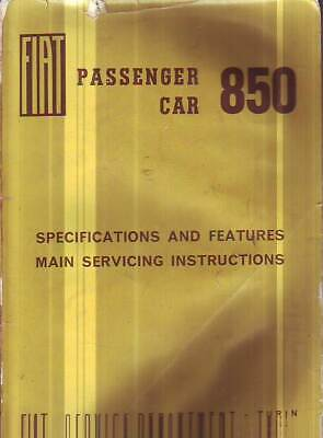 Genuine Fiat 850 Sedan   Factory Service  Workshop   Repair  Manual