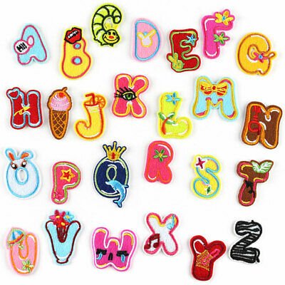 26 English Alphabet Letter Patch Iron On Embroidered Applique Cartoon Badge A-Z