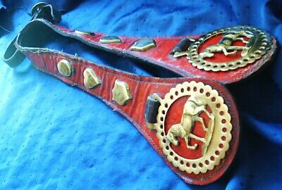 *Superb Antique Red Leather Studded Loin Strap~Pair Of Cantering Horse Brasses*