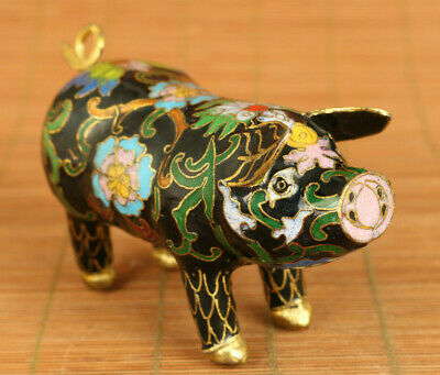 Antiques Chinese Old Handcarved Cloisonne beautiful pig Statue table decorate