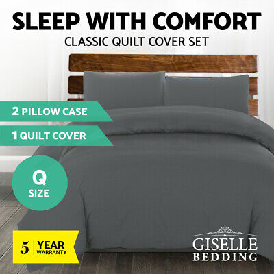 Giselle Bedding Luxury Classic Duvet Doona Queen Quilt Cover Set Hotel Charcoal