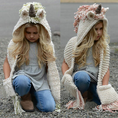 Unicorn Hooded Scarf Animal Hoodie Cowl Crochet Knitted Beanie Hat Kids US Stock