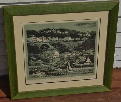 Estate 1960s Carroll Thayer Berry Wood Engraving Waterfront Rockport ME