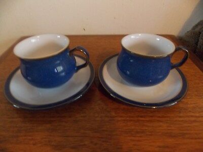 Denby cups and saucers x 2. in blue. Immac cond. no chips or cracks