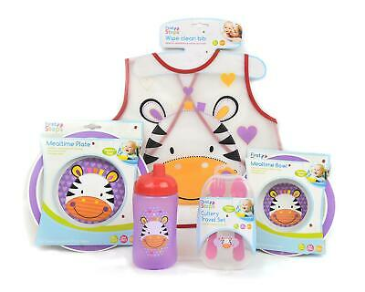 Baby Mealtime Set Kids Girls Bowl Plate Bib Cutlery Cup Bottle BPA Free Travel