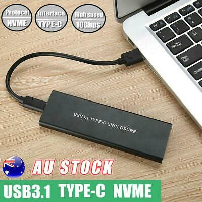 USB 3.1 Type C to M.2 KEY-M NVME SSD Hard Drive External Mobile Enclosure 10Gbps