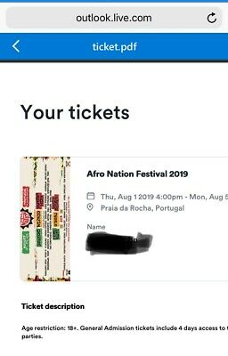 Afronation Portugal Festival Ticket Aug 1-4