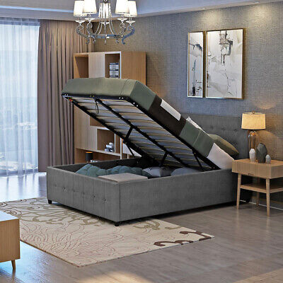 3ft 4ft6 5ft Single Double Sleigh Fabric Ottoman Storage Gas lift up Bed Frame