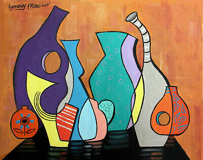 Empty Vases Original Painting Cubist Oils On Canvas Colorful Anthony R Falbo