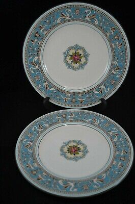 Two Wedgwood Florentine Turquoise 10.75 Inch Dinner Plate Black Backstamp