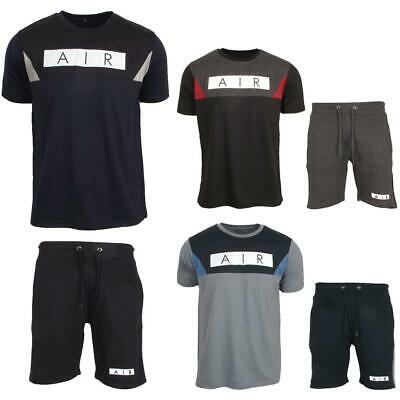 Mens New Sports Top Bottom T Shirt Shorts Full Gym Fleece Fitness AIR Tracksuits