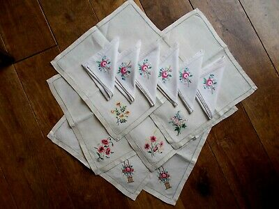 Lot Of 12 Antique Linen Table Napkins With Hand Embroidered Flowers~2 Sets Of 6