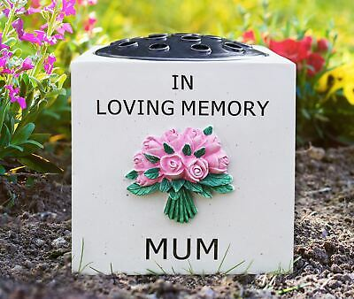 In Loving Memory Mum Graveside Memorial Ornament Grave Stone Flower Vase