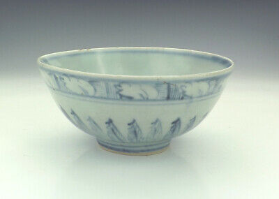 Antique Chinese Ming Dynasty - Blue & White Bowl With Acanthus Leaf Patterning