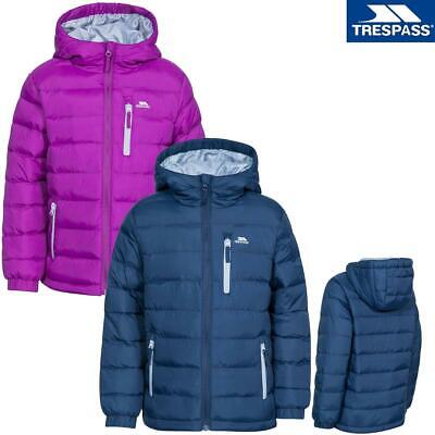 Trespass Aksel Unisex Kids Padded Quilted School Jacket Hooded Coat