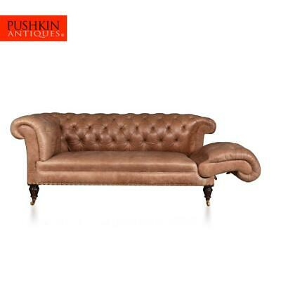 ANTIQUE 19thC VICTORIAN DROP ARM LEATHER TWO SEAT SOFA c.1880