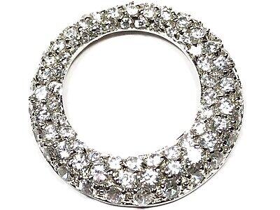 Large Ladies Sterling Silver CZ Hoop Round Circle Necklace Pendant - Signed DBJ