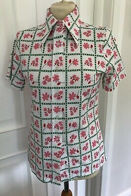 Vintage 1970's Floral Shirt With Dagger Collar Size S