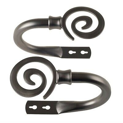 Coil Design Metal Curtain Hold Backs 1 Pr Tie Back Hooks Hanger One Pair Pewter