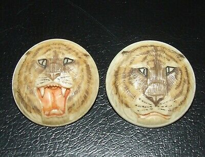 Rare Vintage Pair of Hand Carved, Hand Painted Tiger, Face Buttons.