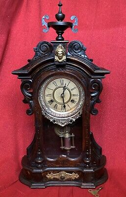 Antique Ansonia Clock Co MONARCH Fancy 1882 8 Day T & S Original Finish RUNNING