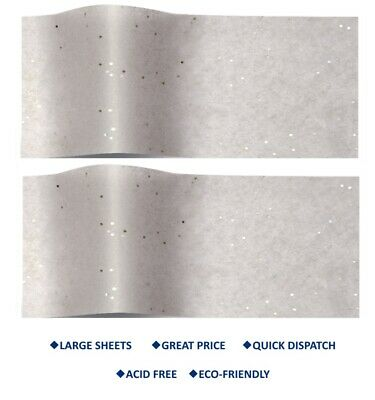 SILVER ON GREY Gemstone Tissue paper SPARKLY Large wrapping paper 50 x 75 cm