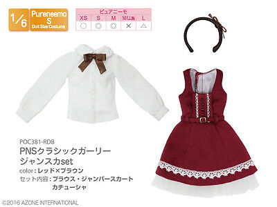 Azone Pureneemo PNS Classic Girly Jumper Skirt Set Red x Brown Obitsu Momoko