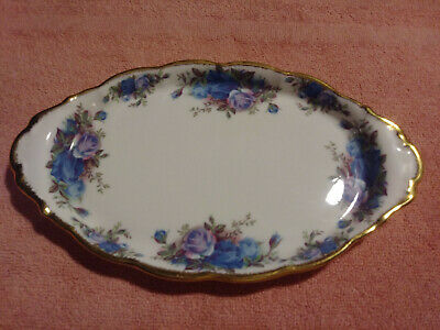 1987 Royal Albert Moonlight Rose Bone China England Vanity Cream Sugar Oval Tray