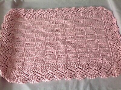 """NEW Chunky Hand Knitted Pink Baby / Doll's Pram / Cot Blanket - 24"""" X 16"""""""