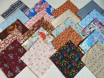 Cotton Fabric Squares 5 Inch Quilt Blocks 20 Calico Patterns Lot / 5 Of Each