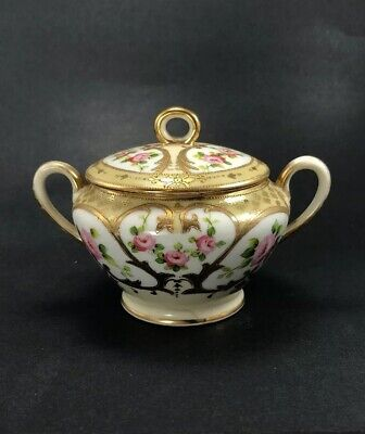 Morimura Bros Pink Roses Sugar Bowl Lidded Hand Painted Gold Trim Moriage Nippon