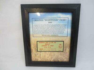 Framed Original Woodstock Friday August 15 1969 Ticket w/ COA