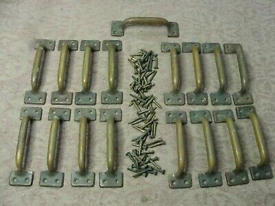 Lot of 17 Antique Heavy Brass Drawer Pulls Handle Hardware House Parts