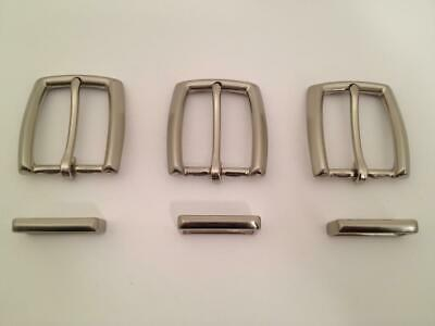 Lot 3 Heavy Brushed Nickel End Bar Harness Belt Buckles w Loops Keepers NOS NR