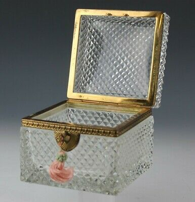 Antique French Crystal Diamond Quilted Gilt Bronze Mount Jewelry Box w Key BMG