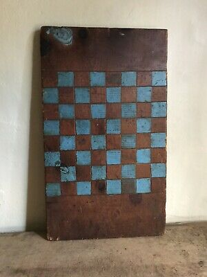 Early Antique Handmade Wooden Checkerboard Robin's Egg Blue Paint AAFA Large